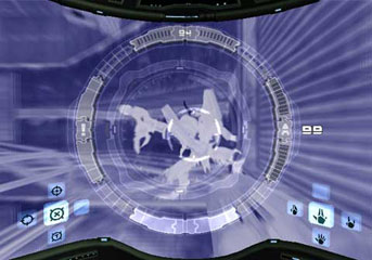 The X-Ray Visor in use in Metroid Prime.