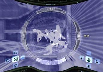 The X-Ray Visor in use in Metroid Prime.
