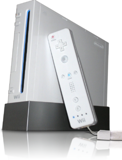 A picture of the Wii with a Wii Remote