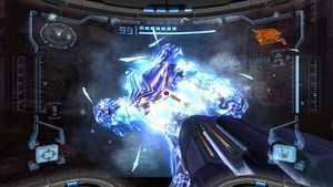 The Ice Beam is capable of freezing enemies solid