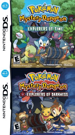 Box artwork for Pokémon Mystery Dungeon: Time Exploration TeamPokémon Mystery Dungeon: Darkness Exploration Team.