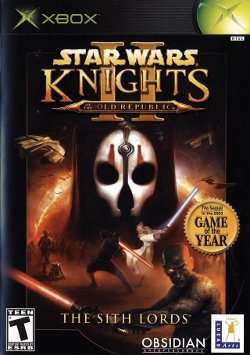 Box artwork for Star Wars Knights of the Old Republic II: The Sith Lords.