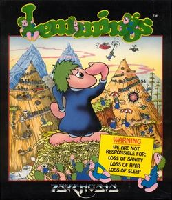 Box artwork for Lemmings.