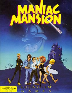 Box artwork for Maniac Mansion.