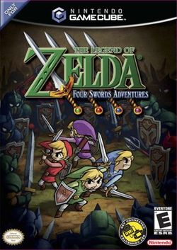 Box artwork for The Legend of Zelda: Four Swords Adventures.