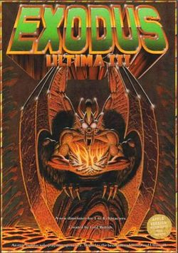 Box artwork for Ultima III: Exodus.