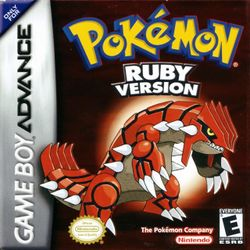 Box artwork for Pokémon Ruby and Sapphire.