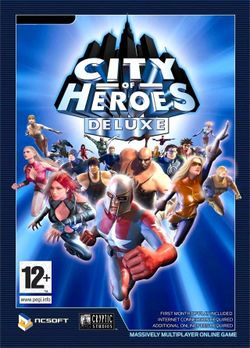 Box artwork for City of Heroes.