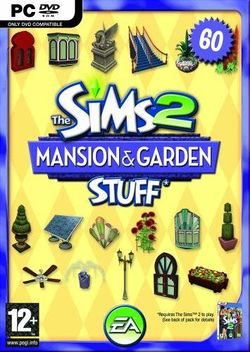 Box artwork for The Sims 2: Mansion & Garden Stuff.