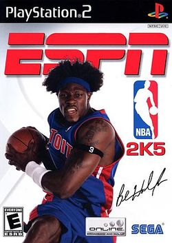 Box artwork for ESPN NBA 2K5.