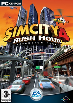 Box artwork for SimCity 4: Rush Hour.