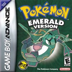 Box artwork for Pokémon Emerald.