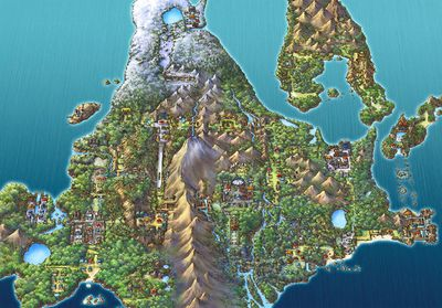 An illustrated map of the Sinnoh region, where Diamond and Pearl takes place.