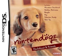 Box artwork for Nintendogs.