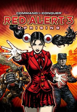Box artwork for Command &amp; Conquer: Red Alert 3: Uprising.
