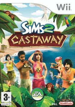 Box artwork for The Sims 2: Castaway.