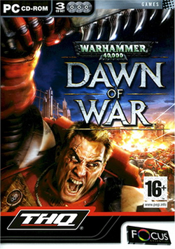 Box artwork for Warhammer 40,000: Dawn of War.