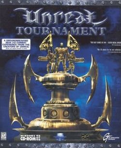 Box artwork for Unreal Tournament.