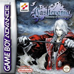 Box artwork for Castlevania: Harmony of Dissonance.
