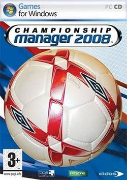 Box artwork for Championship Manager 2008.
