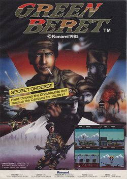 Box artwork for Green Beret / Rush'n Attack.
