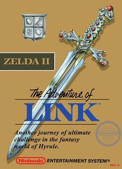 Box artwork for Zelda II: The Adventure of Link.