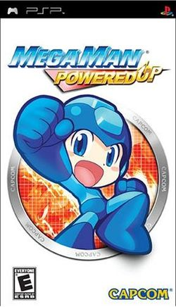 Box artwork for Mega Man Powered up.