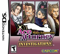 Box artwork for Ace Attorney Investigations: Miles Edgeworth.