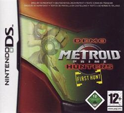 Box artwork for Metroid Prime Hunters: First Hunt.