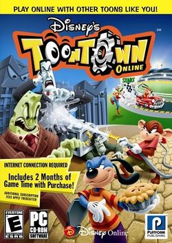 Box artwork for Disney's Toontown Online.