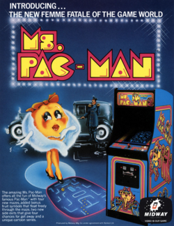 Box artwork for Ms. Pac-Man.