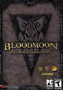 Box artwork for The Elder Scrolls III: Bloodmoon.