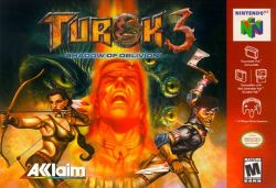 Box artwork for Turok 3: Shadow of Oblivion.