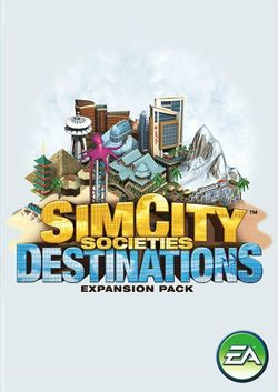 Box artwork for SimCity Societies: Destinations.