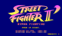 Box artwork for Street Fighter II  Turbo: Hyper Fighting.
