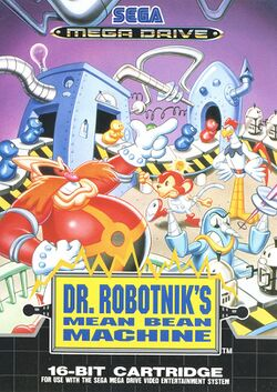 Box artwork for Dr. Robotnik's Mean Bean Machine.