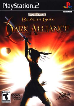 Box artwork for Baldur's Gate: Dark Alliance.