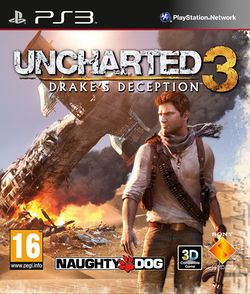 Box artwork for Uncharted 3: Drake's Deception.