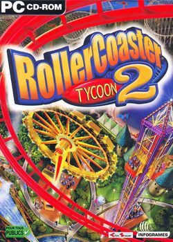 Box artwork for RollerCoaster Tycoon 2.