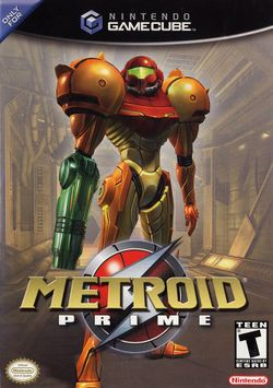 Box artwork for Metroid Prime.