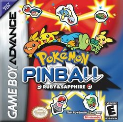 Box artwork for Pokémon Pinball: Ruby & Sapphire.