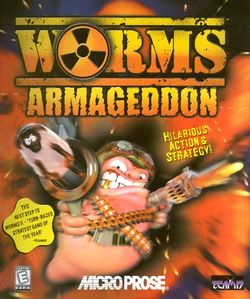 Box artwork for Worms Armageddon.