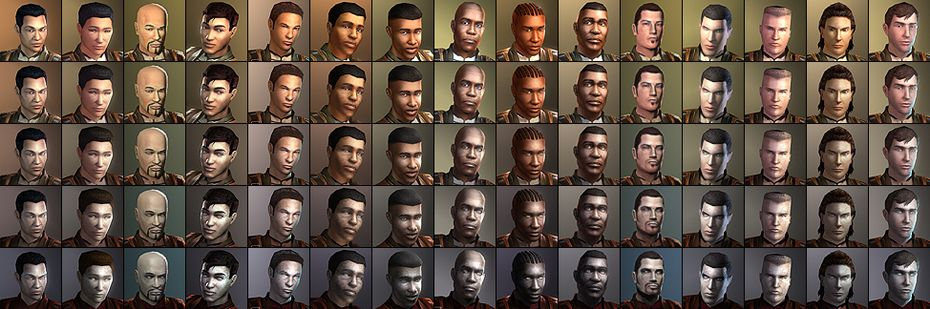 All 15 male portraits, including later changes in appearance as their ...: strategywiki.org/wiki/Star_Wars:_Knights_of_the_Old_Republic...