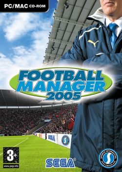 Box artwork for Football Manager 2005.