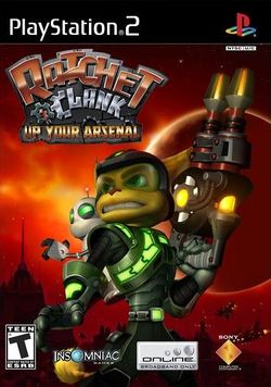 Box artwork for Ratchet &amp; Clank: Up Your Arsenal.