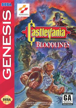 Box artwork for Castlevania: Bloodlines.