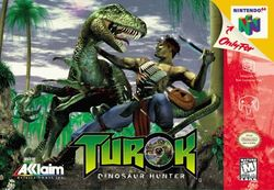 Box artwork for Turok: Dinosaur Hunter.