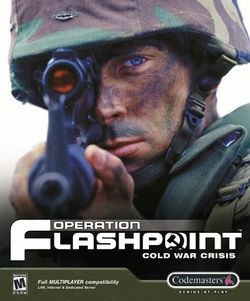Box artwork for Operation Flashpoint: Cold War Crisis.