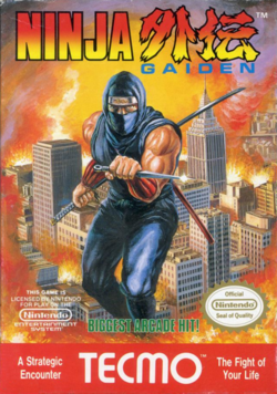 Box artwork for Ninja Gaiden (NES).