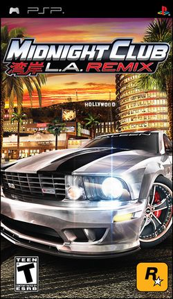 Box artwork for Midnight Club L.A. Remix.